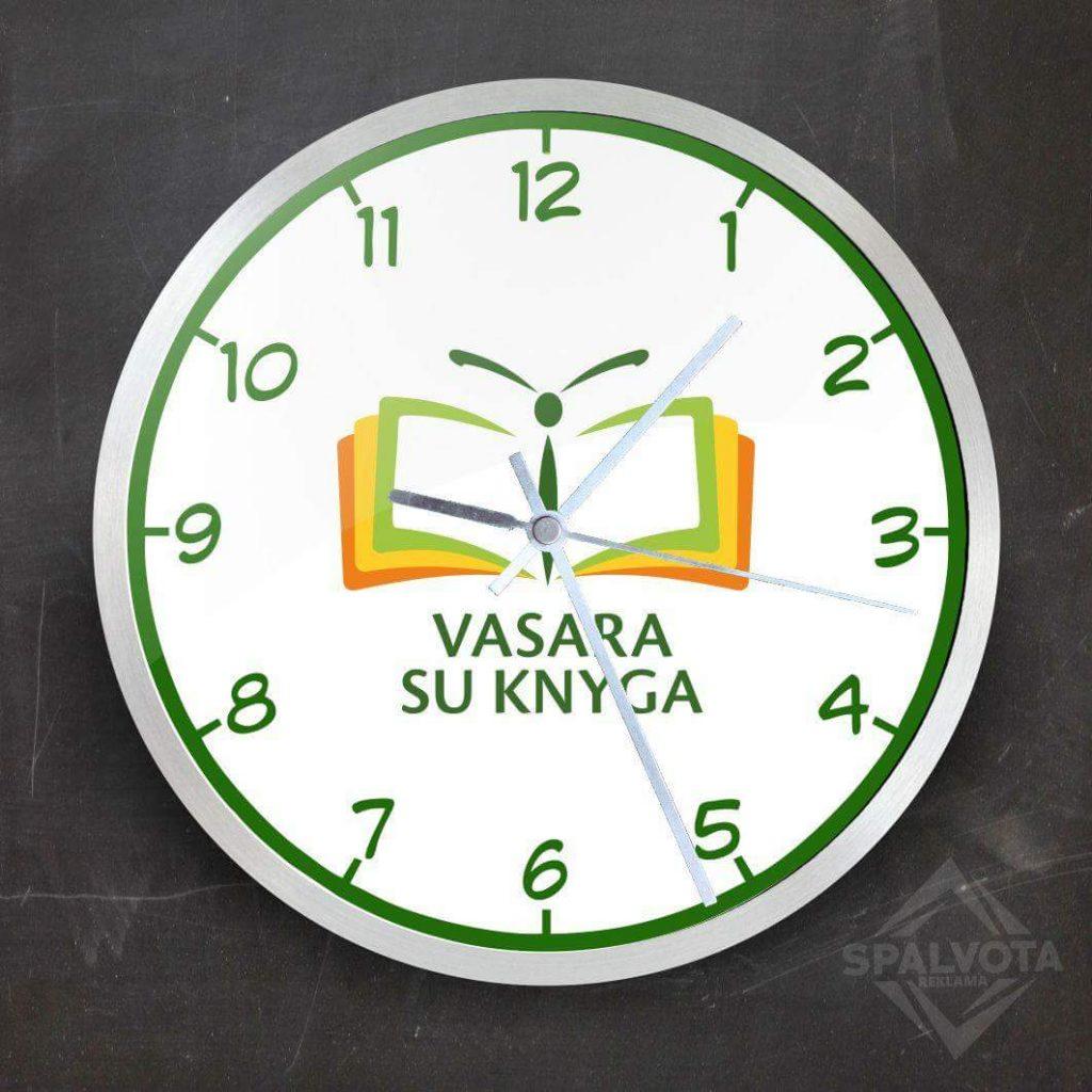 Sieninis laikrodis su logotipu | Vasara su knyga | Spalvota reklama